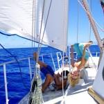 The crew enjoying a nice, quiet sail