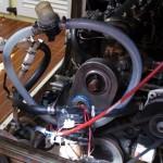 Test-Setup mit elektrischer Pumpe und kurzgeschlossener Wasserpumpe