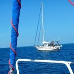 Motorenderweise verlassen wir gemeinsam mit der SY Time Lord die Bucht vor Lami